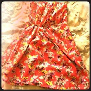 Express strapless floral dress